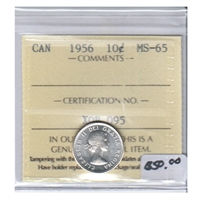1956 Canada 10-cents ICCS Certified MS-65