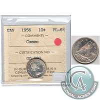 1956 Canada 10-cents ICCS Certified PL-65 Cameo