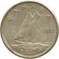 1957 Canada 10-cents Circulated