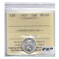 1957 Canada 10-cents ICCS Certified MS-65