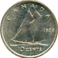 1958 Canada 10-cents Proof Like