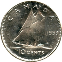 1959 Canada 10-cents Choice Brilliant Uncirculated (MS-64)