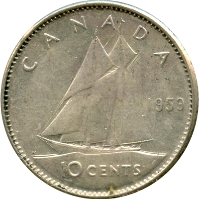 1959 Canada 10-cents Circulated