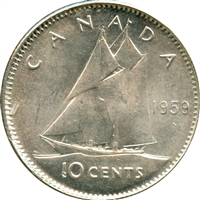 1959 Canada 10-cents Uncirculated (MS-60)