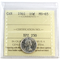 1961 Canada 10-cent ICCS Certified MS-65