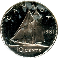 1961 Canada 10-cent Proof Like