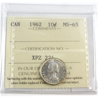 1962 Canada 10-cent ICCS Certified MS-65