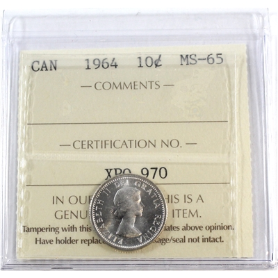 1964 Canada 10-cents ICCS Certified MS-65