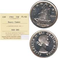 1964 Canada 10-cent ICCS Certified PL-66 Heavy Cameo
