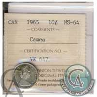 1965 Canada 10-cent ICCS Certified MS-64 Cameo