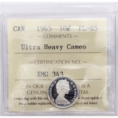 1965 Canada 10-cents ICCS Certified PL-65 Ultra Heavy Cameo