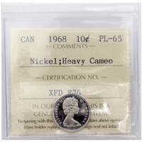 1968 Canada Nickel 10-cent ICCS Certified PL-65 Heavy Cameo