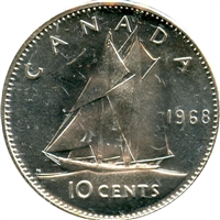 1968 Silver Canada 10-cents Brilliant Uncirculated (MS-63)