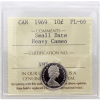 1969 Canada 10-cent ICCS Certified PL-66 Small Date Heavy Cameo