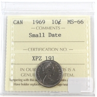 1969 Canada Small Date 10-cent ICCS Certified MS-66