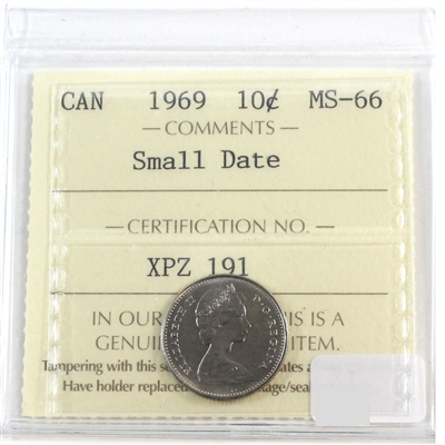 1969 Small Date Canada 10-cents ICCS Certified MS-66