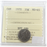 1970 Canada 10-cents ICCS Certified MS-65
