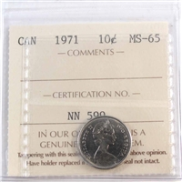1971 Canada 10-cents ICCS Certified MS-65