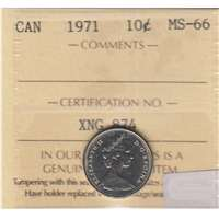 1971 Canada 10-cents ICCS Certified MS-66
