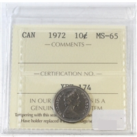 1972 Canada 10-cents ICCS Certified MS-65