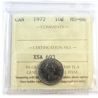 1972 Canada 10-cent ICCS Certified MS-66