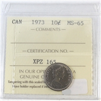 1973 Canada 10-cents ICCS Certified MS-65