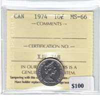 1974 Canada 10-cent ICCS Certified MS-66