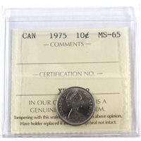 1975 Canada 10-cents ICCS Certified MS-65