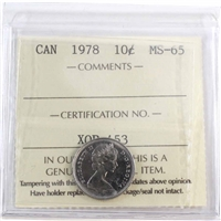 1978 Canada 10-cents ICCS Certified MS-65