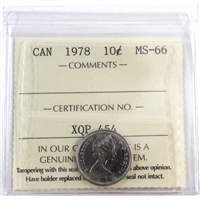 1978 Canada 10-cent ICCS Certified MS-66