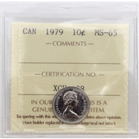 1979 Canada 10-cents ICCS Certified MS-65