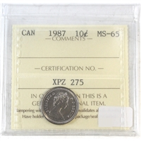 1987 Canada 10-cents ICCS Certified MS-65