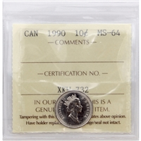 1990 Canada 10-cent ICCS Certified MS-64