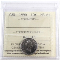 1990 Canada 10-cent ICCS Certified MS-65
