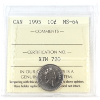 1995 Canada 10-cents ICCS Certified MS-64