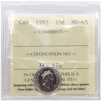 1992 Canada 10-cents ICCS Certified MS-65