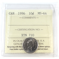 1996 Canada 10-cents ICCS Certified MS-64