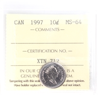 1997 Canada 10-cents ICCS Certified MS-64
