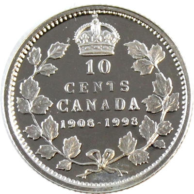 1998 (1908-1998) Commem. Canada 10-cent Proof