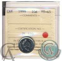 1999 Canada 10-cents ICCS Certified MS-65