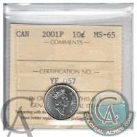 2001P Canada 10-cents ICCS Certified MS-65