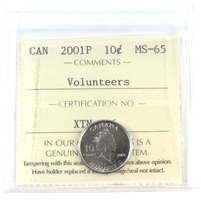 2001P Canada Volunteers 10-cents ICCS Certified MS-65