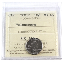 2001P Canada Volunteers 10-cents ICCS Certified MS-66