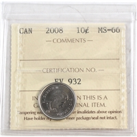 2008 Canada 10-cent ICCS Certified MS-66