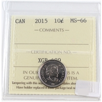 2015 Canada 10-cents ICCS Certified MS-66