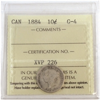 1884 Canada 10-cents ICCS Certified G-4