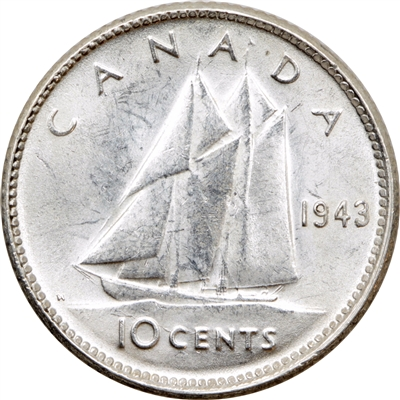 1943 Canada Re-Engraved 10-cent UNC+ (MS-62)