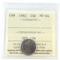 1982 Canada 10-cents ICCS Certified MS-64