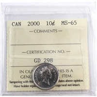 2000 Canada 10-cents ICCS Certified MS-65