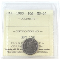 1983 Canada 10-cents ICCS Certified MS-64